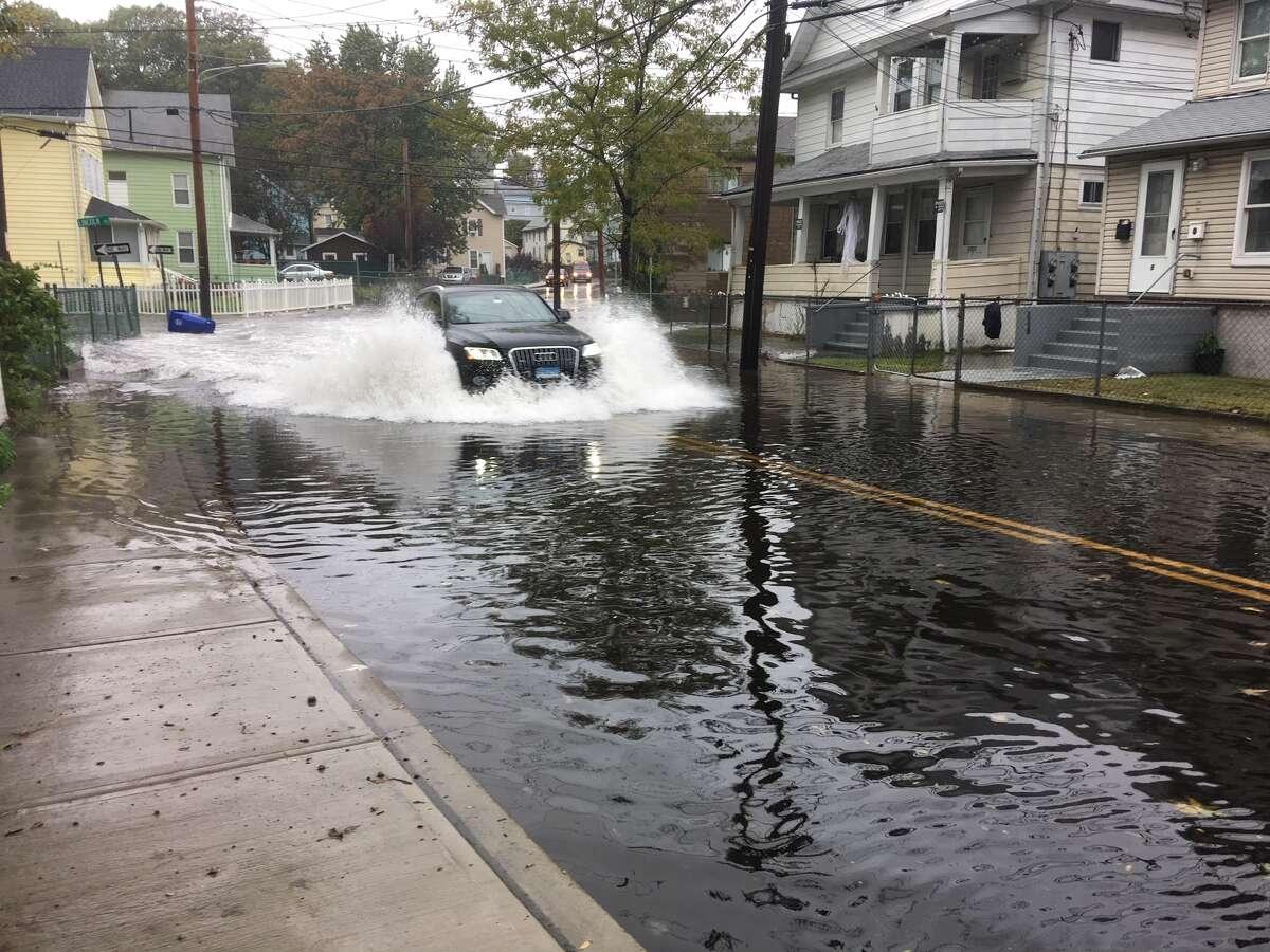 Flooding along Burritt Street in Norwalk, October 27, 2018.