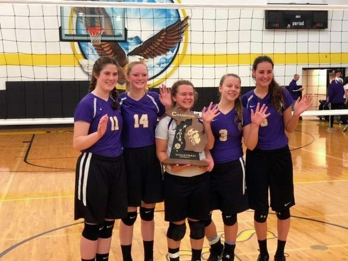 Pictured, from left, are Calvary Baptist volleyball seniors Alana Ward, Lydia Hillebrand, Abbie Ouderkirk, Courtney Warnerand Cassady Holdeman. (Photo provided)