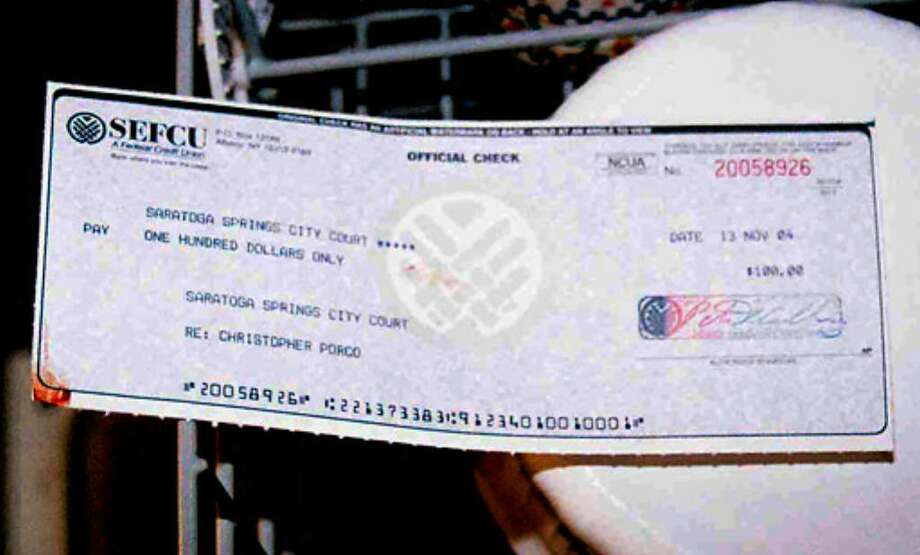 The  $100 certified check which Peter Porco took out to pay a Chirstopher Porco traffic violation. Photo: State Police