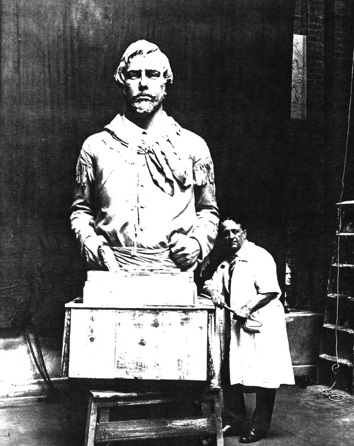 Alamo Cenotaph sculptor Pompeo Coppini poses with his bronze bust of fellow Italian immigrant Prospero Bernardi, who fought in the Battle of San Jacinto. The bust was unveiled Oct. 12, 1936, at the Texas Centennial Exposition and remains at Fair Park in Dallas.