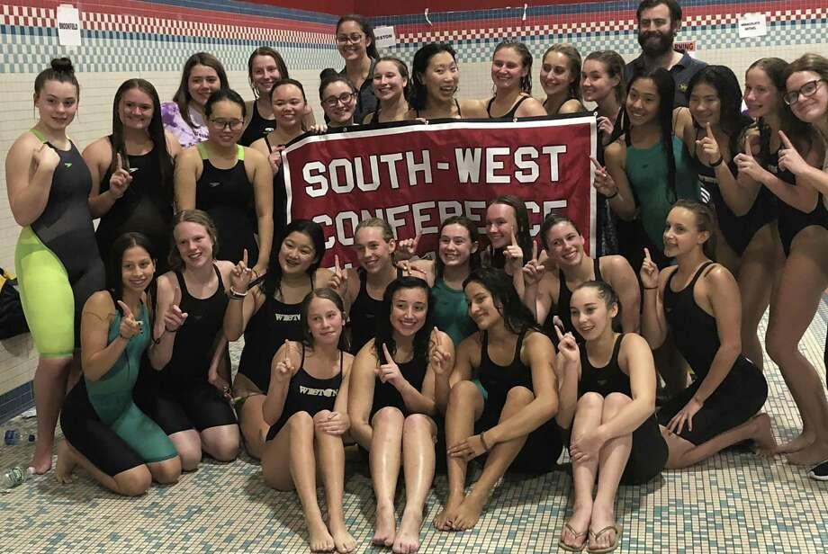 The Weston girls swim team won its fourth straight SWC title on Saturday at Masuk High School. Photo: Ryan Lacey /Hearst Connecticut Media
