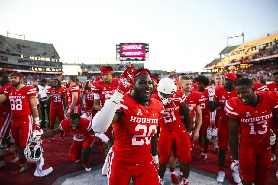 PHOTOS: Houston's top 100 high school football recruits (Class of 2019)  Houston Cougars linebacker Roman Brown (20) celebrates the 57-36 win against the South Florida Bulls at TDECU Stadium Saturday, Oct. 27, 2018, in Houston. >>>Browse through the photos for a look at the top 100 high school football recruits in the Houston area in the Class of 2019 ...  Photo: Michael Ciaglo/Staff Photographer