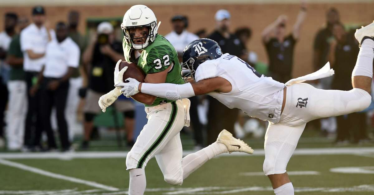 North Texas Mean Green wide receiver Michael Lawrence (32) catches the ball during the game against Rice on Saturday, Oct. 27 at Apogee Stadium in Denton, Texas.