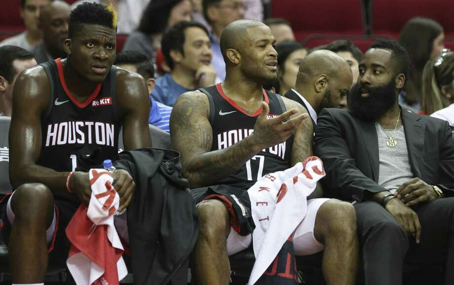 Houston Rockets' Clint Capela, from left, PJ Tucker and James Harden walk on the bench during the fourth quarter of the NBA game against the LA Clippers at Toyota Center on Friday, Oct. 26, 2018, in Houston. The Houston Rockets lost to the LA Clippers 133-113. Photo: Yi-Chin Lee, Houston Chronicle / Staff Photographer / © 2018 Houston Chronicle