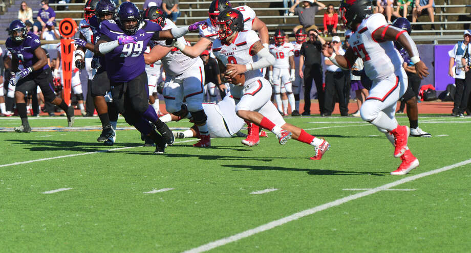 Junior quarterback Jordan Hoy looks to make a play during Lamar's 24-17 win over SFA on Saturday in Nacogdoches. Photo provided by Lamar Athletics. Photo: Lamar Athletics