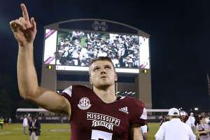 STARKVILLE, MS - OCTOBER 27: Nick Fitzgerald #7 of the Mississippi State Bulldogs celebrates after a game against Texas A&M Aggies at Davis Wade Stadium on October 27, 2018 in Starkville, Mississippi.  (Photo by Jonathan Bachman/Getty Images)