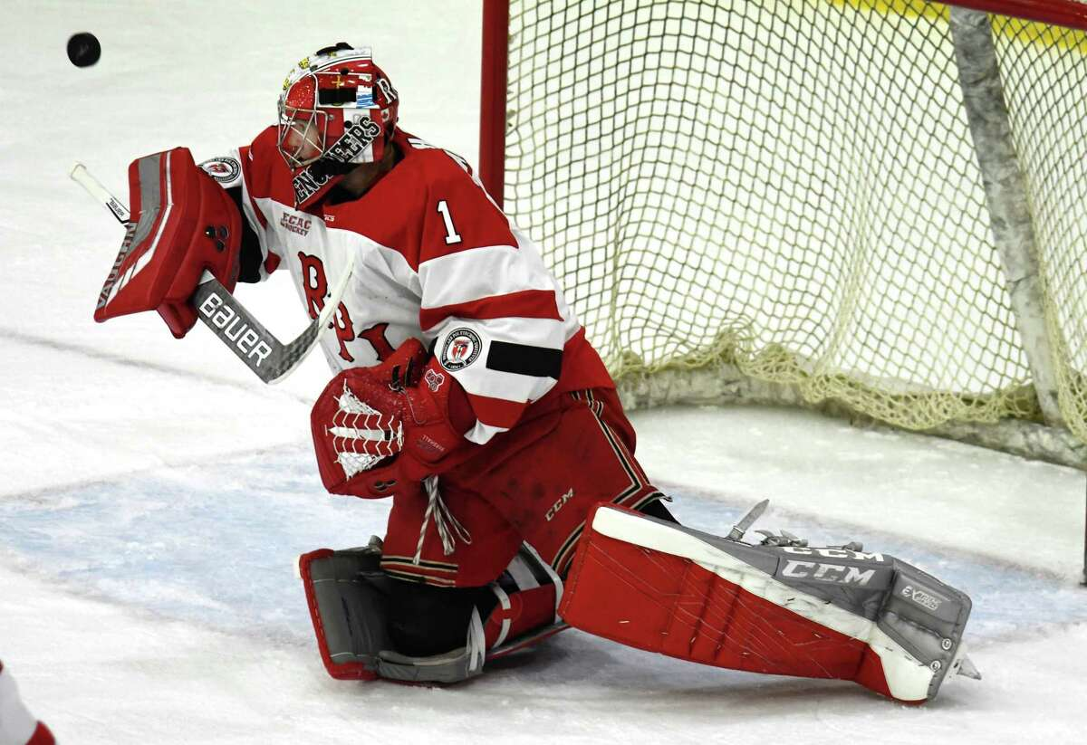 RPI goaltender Linden Marshall blocks a shot that bounces off his blocker during a game against Union on Saturday, Oct. 27, 2018 at Union College in Schenectady, N.Y. (Jenn March, Special to the Times Union)
