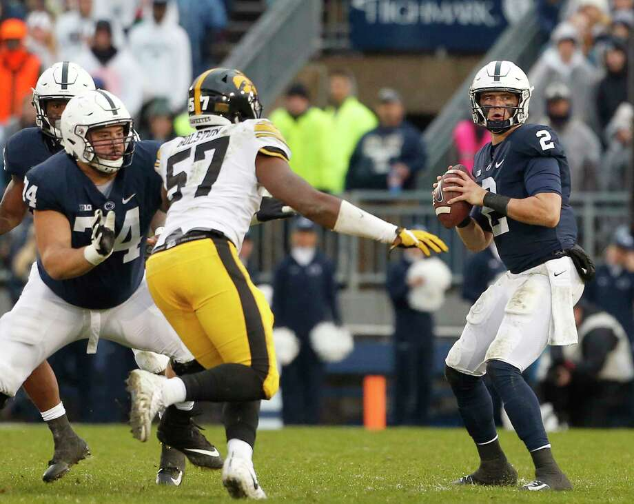 Penn State quarterback Tommy Stevens (2) drops back to pass against Iowa during the first half of an NCAA college football game in State College, Pa., Saturday, Oct. 27, 2018. (AP Photo/Chris Knight) Photo: Chris Knight / Chris Knight