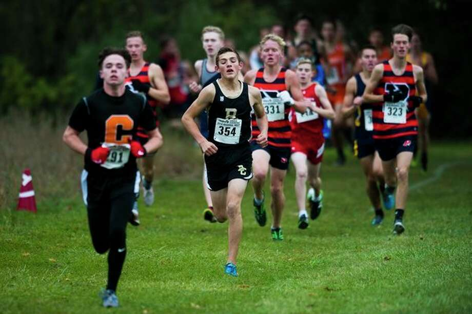 Bullock Creek sophomore Lucas Kindy (354) competes in the Division 2 cross country regional on Saturday at Delta College. (Katy Kildee/kkildee@mdn.net)