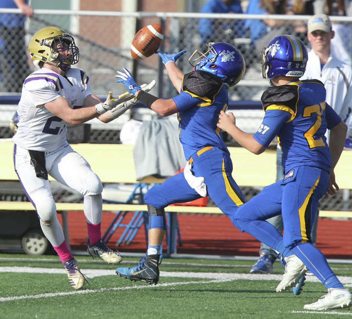 Routt's Alex Cosgriff reaches to make a catch in a game against Maroa-Forsyth during the first round of the Illinois High School Association Class 2A playoffs at Maroa on Saturday.