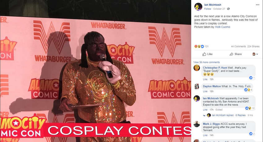 A Facebook post made by Ian McIntosh Oct. 27 showed the controversial costume that popped up at Alamo City Comic Con. The Image is credited to Holli Cuomo.
