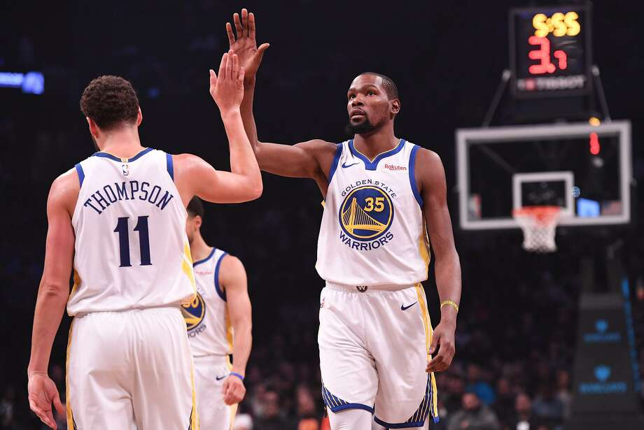 Klay Thompson and Kevin Durant. Photo: Matteo Marchi / Getty Images / 2018 Matteo Marchi