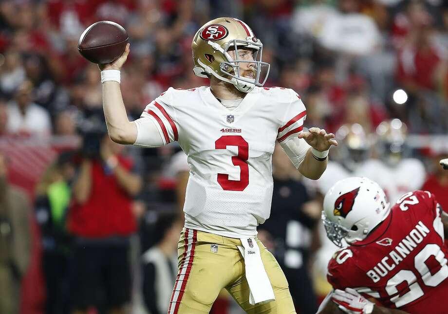 San Francisco 49ers quarterback C.J. Beathard (3) throws against the  Arizona Cardinals during the 25e183326