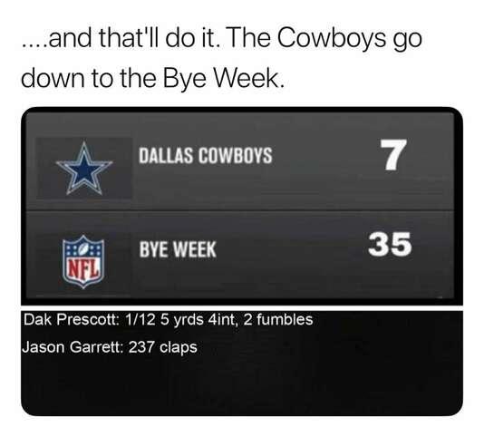 Dallas Cowboys Week 8: Bye week The Cowboys entered the bye week at 3-4. Photo: Facebook
