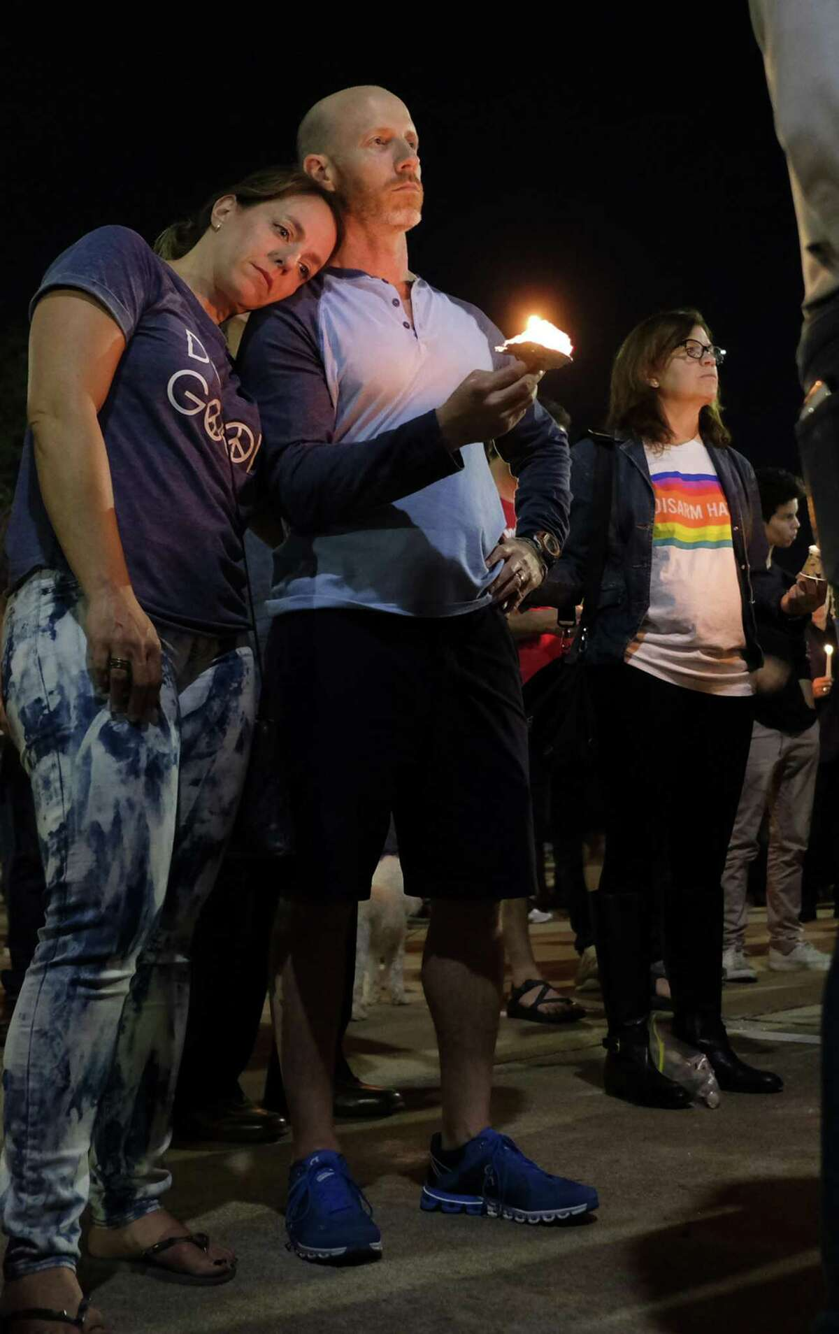 Members of the Houston Jewish community hold a vigil on Sunday, October 28, 2018, at the Evelyn Rubenstein Jewish Community Center to honor the victims of the Pittsburgh synagogue attack.
