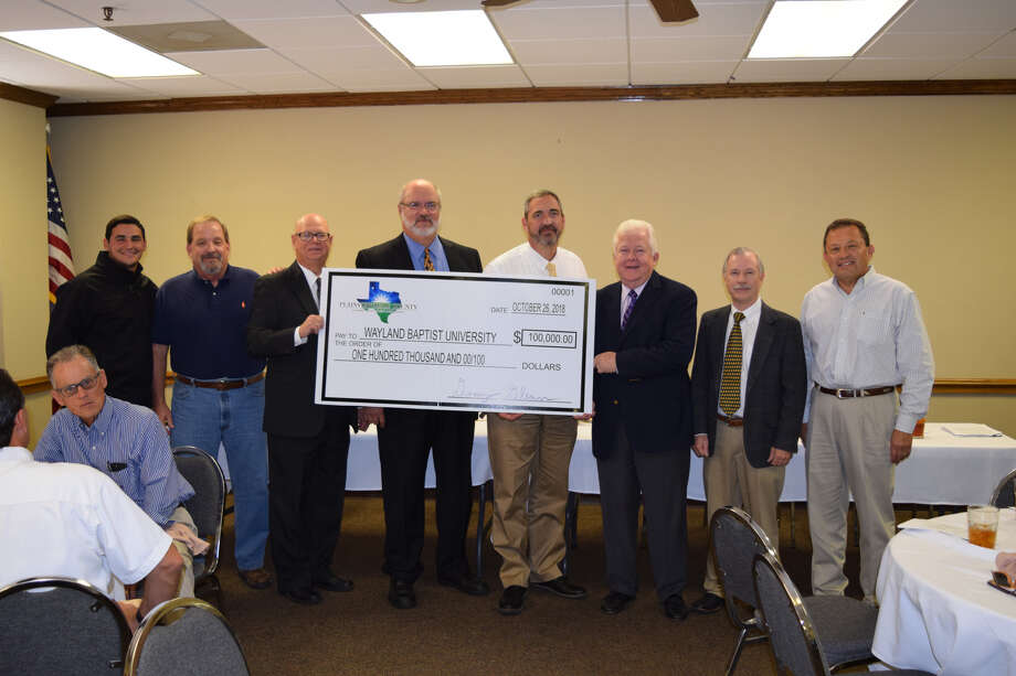 WBU officials were presented with a check by the Hale County-Plainview Economic Development Corporation during the EDC's quarterly meeting Friday.