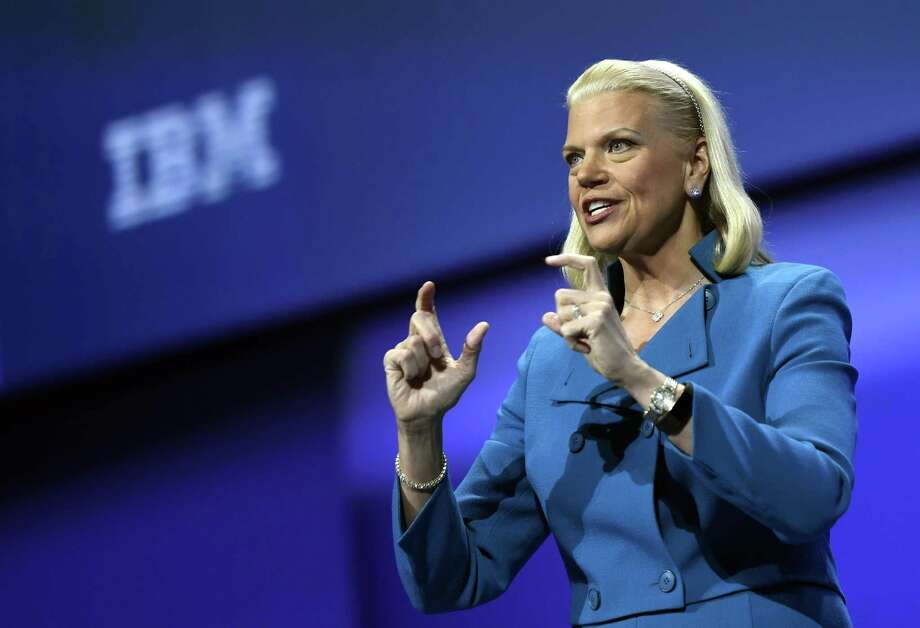 FILE: Ginni Rometty, chief executive officer of International Business Machines Corp. (IBM), speaks during the IBM InterConnect 2017 conference in Las Vegas, Nevada, U.S., on Tuesday, March 21, 2017. IBM's $33 billion purchase of Red Hat Inc. -- the world's second-largest technology deal ever -- is aimed at catapulting the company into the ranks of the top cloud software competitors. Photographer: David Becker/Bloomberg Photo: David Becker / Bloomberg / © 2018 Bloomberg Finance LP