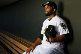 MESA, AZ - FEBRUARY 22: Yusmeiro Petit #36 of the Oakland Athletics poses for a portrait during photo day at HoHoKam Stadium on February 22, 2018 in Mesa, Arizona. (Photo by Justin Edmonds/Getty Images)