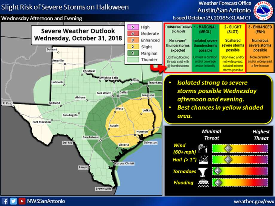 A cold front will create a marginal chance of severe thunderstorms on Halloween. Photo: National Weather Service