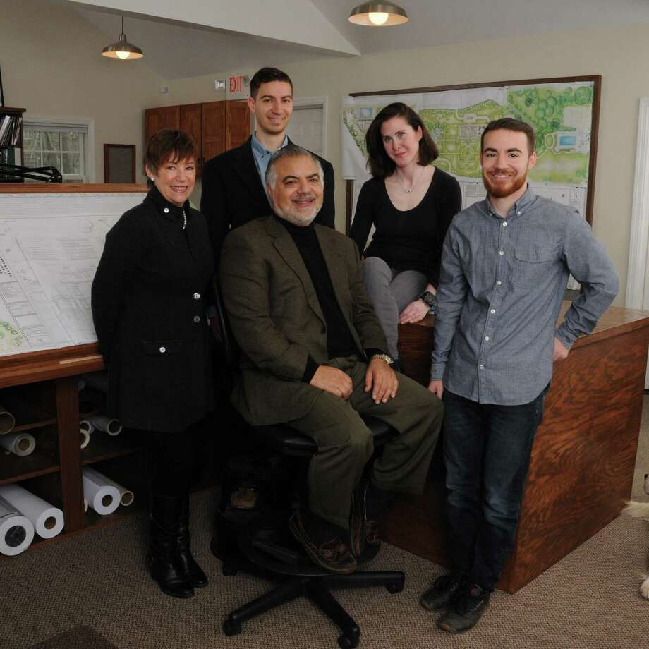 With offices in Greenwich and Bedford, New York, Conte & Conte is a full-service landscape architecture and design firm. From left to right: Kimberly Conte, John R. Conte III, John R. Conte (front), Cleo Abrams-Horsburgh and David Conte. Photo: Bob Capazzo / ONLINE_CHECK