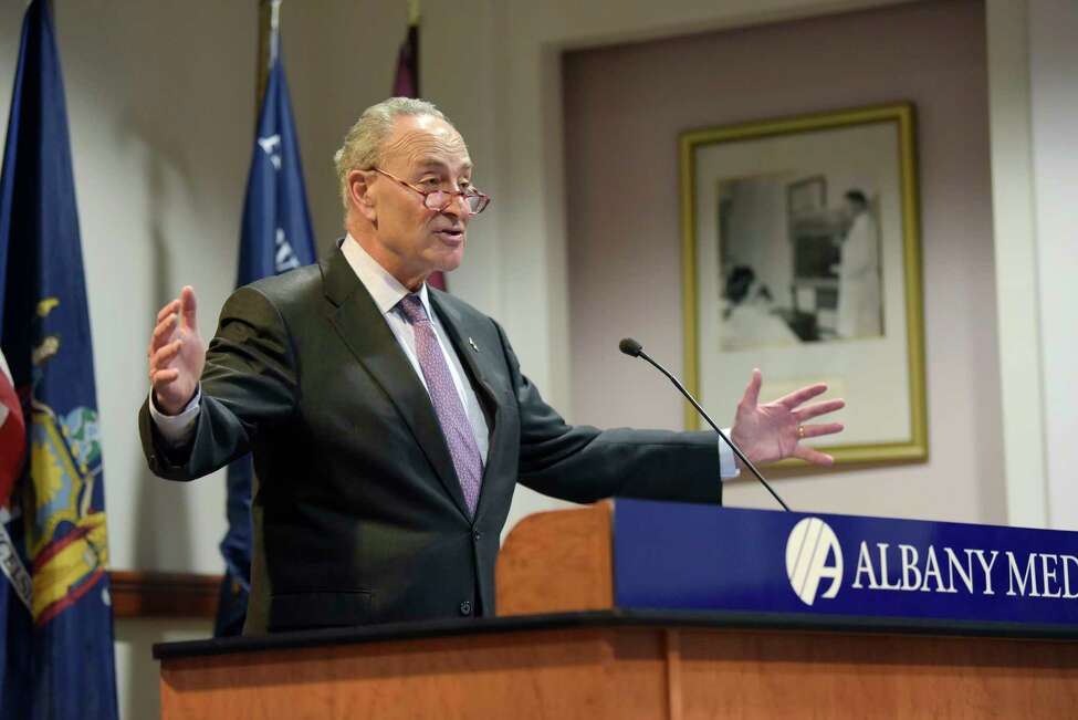 Senator Charles Schumer talks about his efforts to reverse cuts to the essential 340B hospital program during a press conference on Monday, Oct. 29, 2018, in Albany, N.Y. (Paul Buckowski/Times Union)