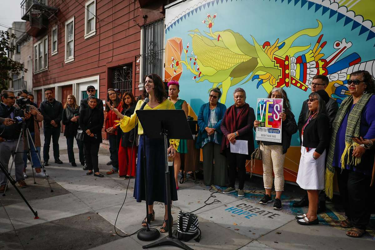 Supervisor Hillary Ronen (center) speaks at a press conference regarding the possible eviction of the longtime Mission cultural spot Galeria de la Raza in San Francisco, California, on Monday, Oct. 29, 2018.
