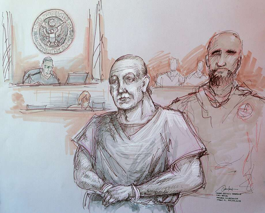 A sketch shows Cesar Sayoc at his appearance in federal court in Miami. Sayoc is accused of sending pipe bombs to prominent Democrats around the country. Photo: Daniel Pontet / Associated Press