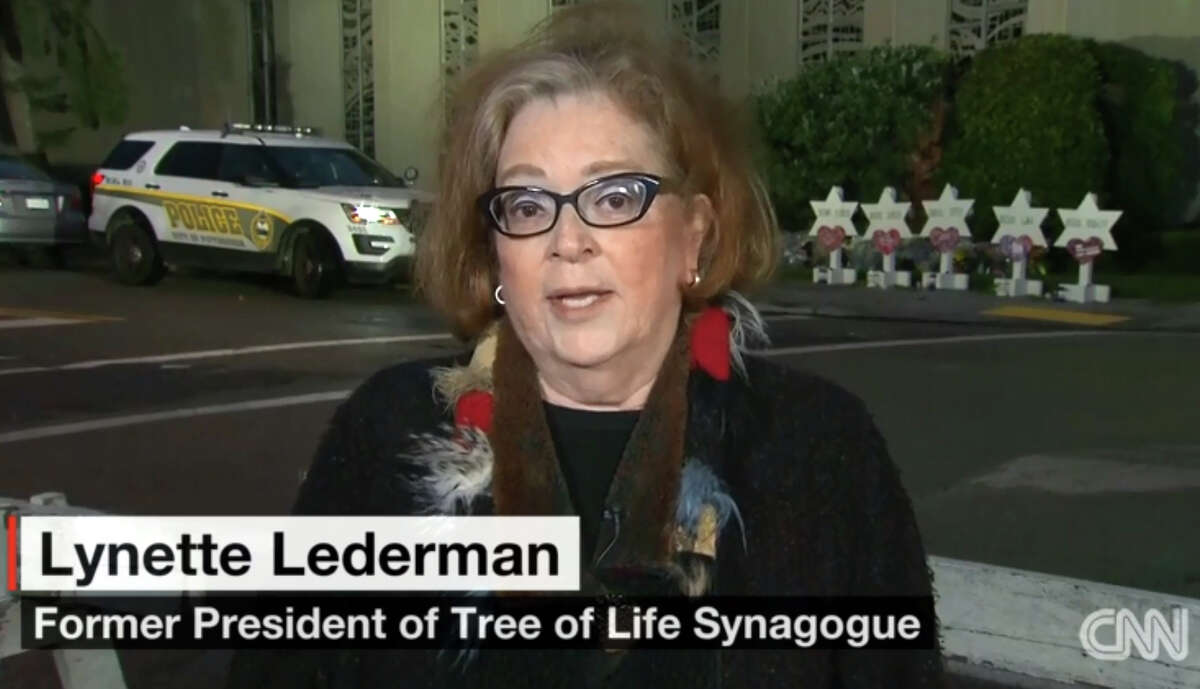 Lynette Lederman, a Bridgeport native and former president of the Tree of Life Synagogue, in Pittsburg, speaks during an interview on CNN Monday.