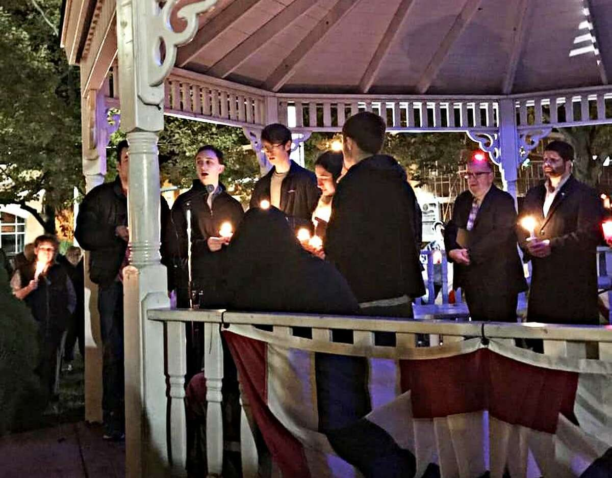 """""""The crowd was impressive and larger than anticipated"""" at Sunday night's vigil, according to Patti Anne Vassia. Jewish leaders, Mayor Dan Drew, Congregation Adath Israel Interim Rabbi Marshal Press and former residents of Pittsburg and Newtown spoke during observances."""
