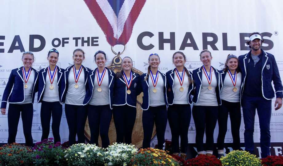 It was a 5-peat for the 5-Peat for the Saugatuck Rowing Club Women's Youth 8+ at the Head of the Charles Regatta. From left to right: Katie Roland, Anella Lefebvre, Parker Cuthbertson, Caitlin Esse, Honor Heisler, Isabel Mezei, Noelle Amlicke, Justine McGuire, Bonnie Pushner and Head Coach Gordon Getsinger. Photo: Contributed Photo / Contributed Photo / Greenwich Time Contributed