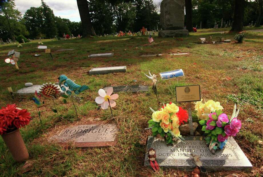 It is believed that some older graves and grave markers at Park Cemetery in Bridgeport were moved to make way for newer burials. Photo: Christian Abraham / Hearst Connecticut Media / Connecticut Post