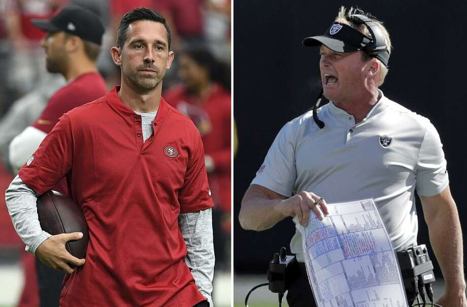 Head coaches Kyle Shanahan (left) and Jon Gruden (right). Photo: Photos By Norm Hall / Getty Images And Carlos Avila Gonzalez / The Chronicle