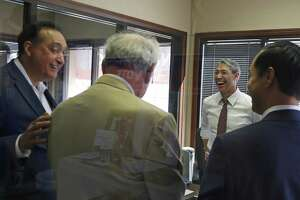 """Before the press conference Mayor Ron Nirenberg met with the former mayors Julian Castro,far right,Phil Hardberger,Henry Cisneros,far left and Ed Garza, behind Cisneros. Mayor Ron Nirenberg and five former mayors are """"uniting in opposition"""" to the proposed charter amendments on Monday, October 29, 2018"""