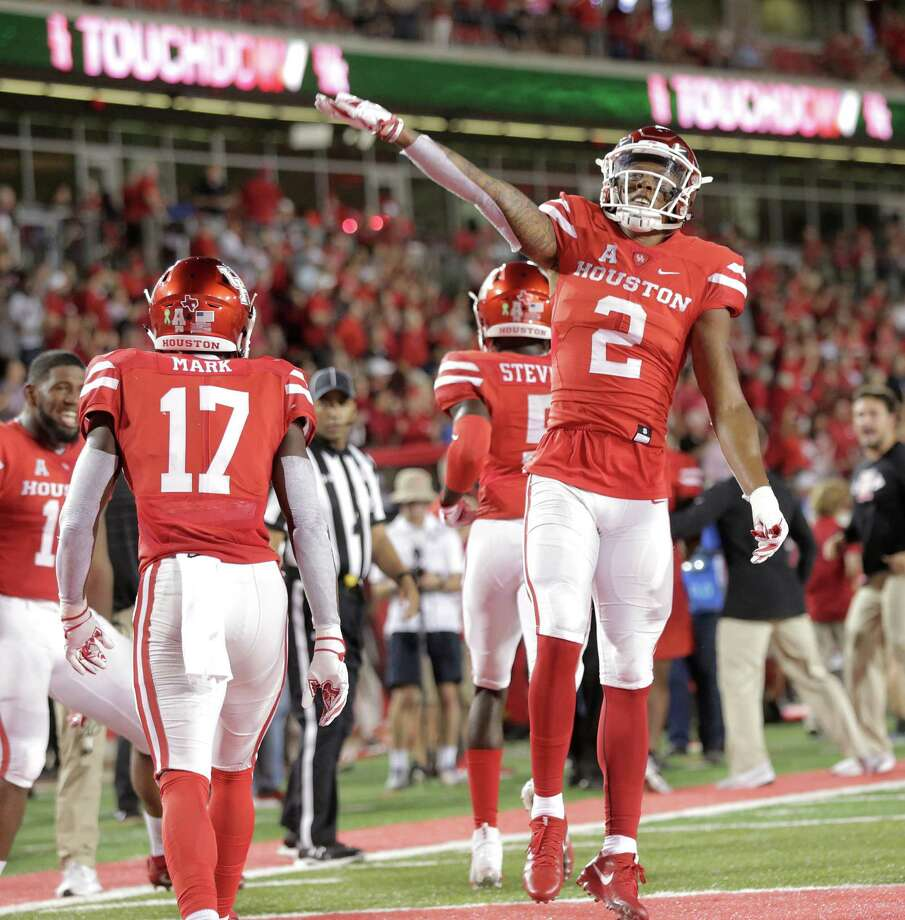 Houston Cougars wide receiver Keith Corbin (2) reacts to a touchdown in the first half against Tulsa Golden Hurricane at TDECU Stadium on Thursday, Oct. 4, 2018 in Houston. Photo: Elizabeth Conley, Houston Chronicle / Staff Photographer / © 2018 Houston Chronicle