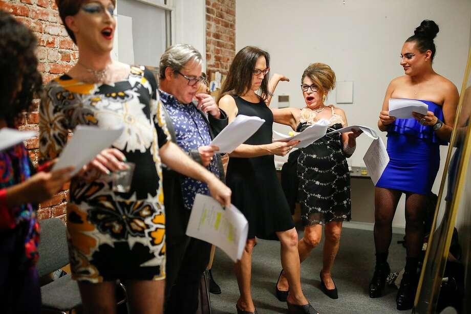 Shane Zaldivar (left), Pleasure Bynight, Mark Nassar, Kelly J Kelly, Donna Personna and Persia run through their lines as they prepare for a reading of Personna's play at Safehouse Arts on Oct. 26. Photo: Amy Osborne / Special To The Chronicle