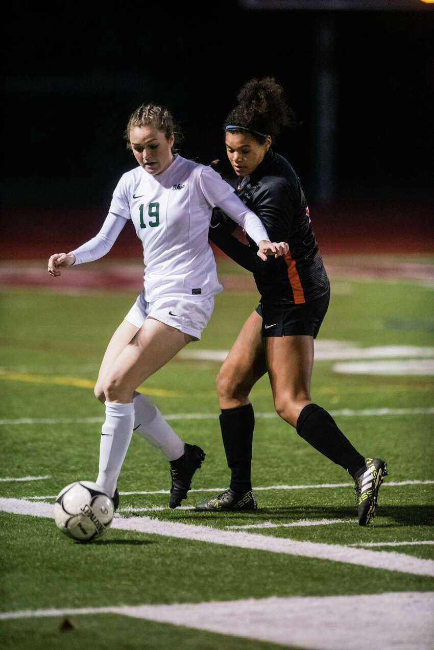 Shenendehowa's Kelsey Smith faced off against Bethelhem's Beatrice Jones during the Class AA girls soccer finals at Stillwater High School Monday, October 29th, 2018 in Stillwater, NY. Photo by Eric Jenks, for the Times Union