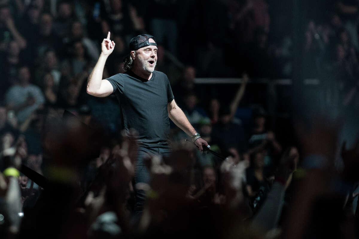 Lars Ulrich of Metallica performs Monday, Oct. 29, 2018, at the Times Union Center in Albany as part of the band's WorldWired Tour.