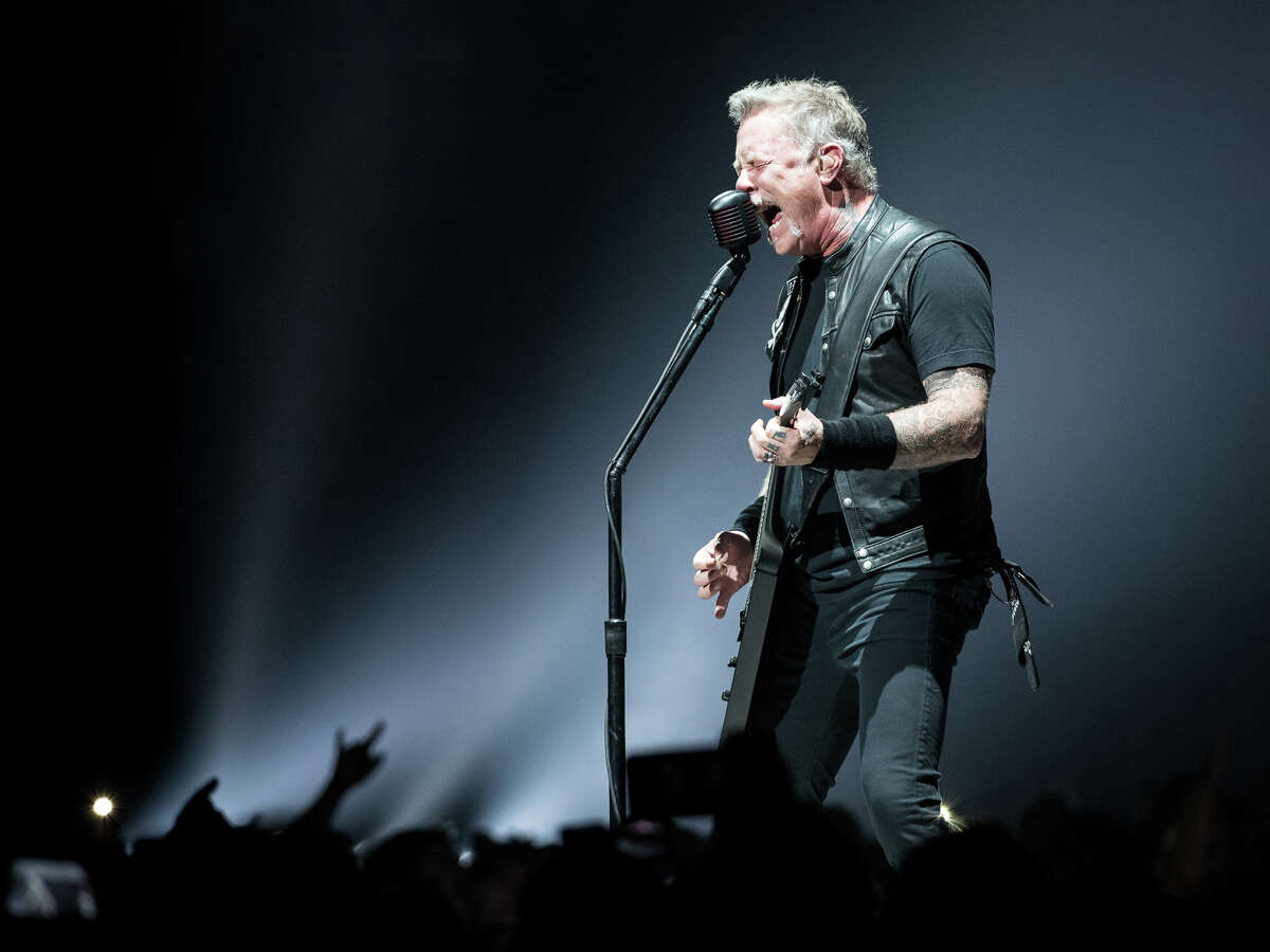 James Hetfield of Metallica performs Monday, Oct. 29, 2018, at the Times Union Center in Albany as part of the band's WorldWired Tour.