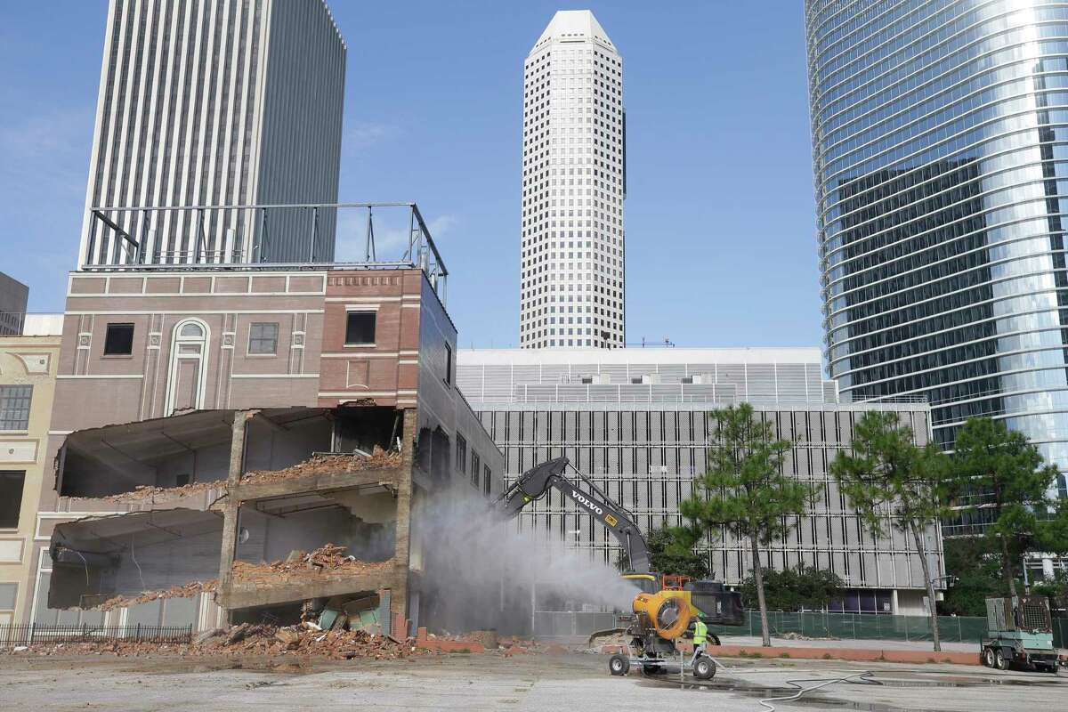 Demolition of the former Houston Press building at 1621 Milam is shown Tuesday, October 30, 2018. The property is owned by Chevron.