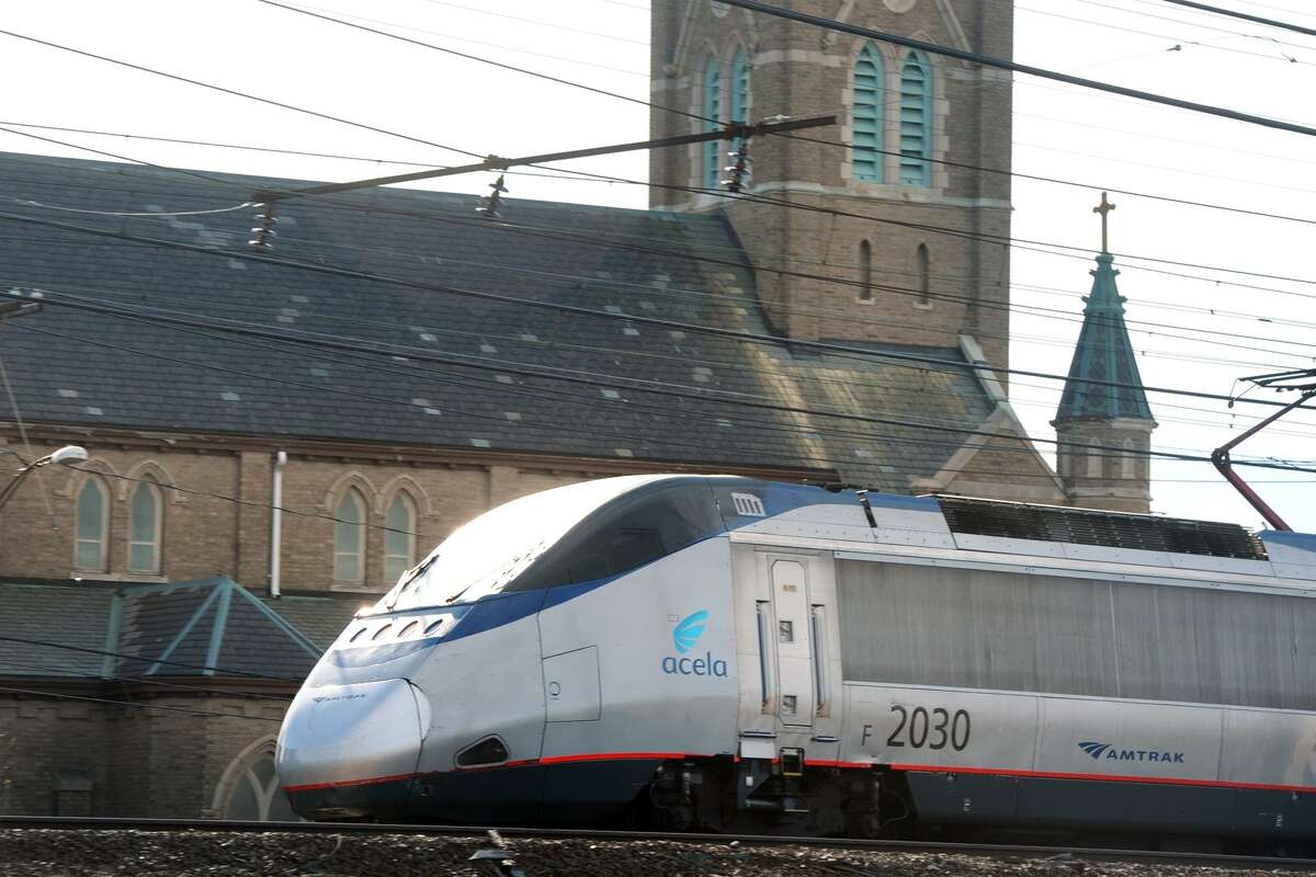 A Amtrak Acela train passes near the future location of Barnum Station, in Bridgeport, Conn. Nov. 9, 2015. U.S. Department of Transportation has announced $10 million TIGER Grant for the new commuter rail station.
