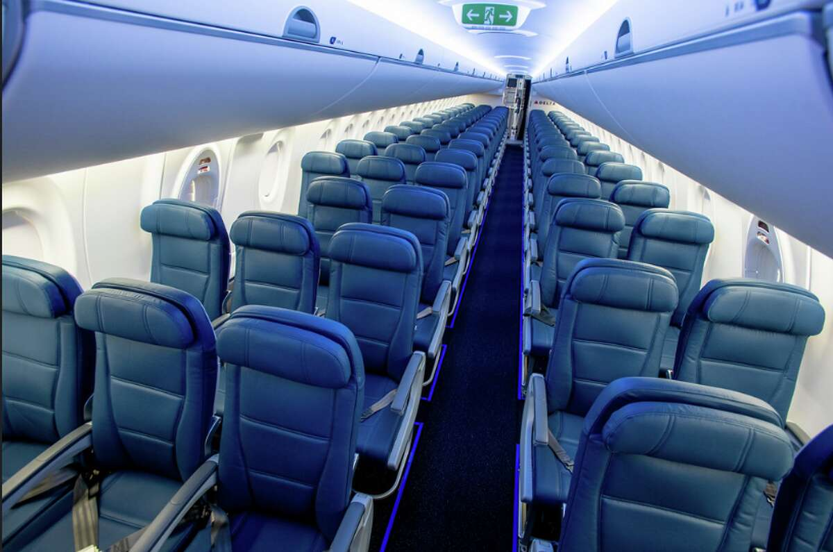 Delta's newest jet: The Airbus A220 has 109 seats configured 2-3 in economy, bigger windows and oversize luggage bins. Delta's nearly doubled the mileage bonus in it's three SkyMiles credit cards- but only for a limited time