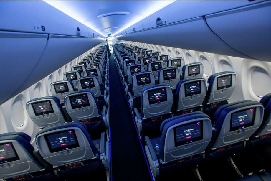 Delta's newest jet will fly into San Jose: The Airbus A220 has 109 seats configured 2-3 in economy, bigger windows and oversize luggage bins Photo: Delta Air Lines