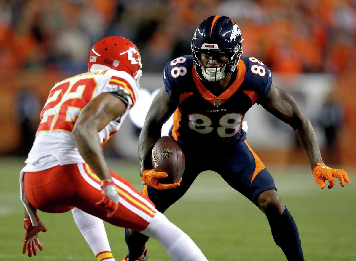 PHOTOS: Possible trade targets before the NFL trade deadline Denver Broncos wide receiver Demaryius Thomas (88) tries to elude Kansas City Chiefs defensive back Orlando Scandrick (22) during the first half of an NFL football game, Monday, Oct. 1, 2018, in Denver. (AP Photo/David Zalubowski) >>>Browse through the photos for a look at players who might be available at the NFL trade deadline ...