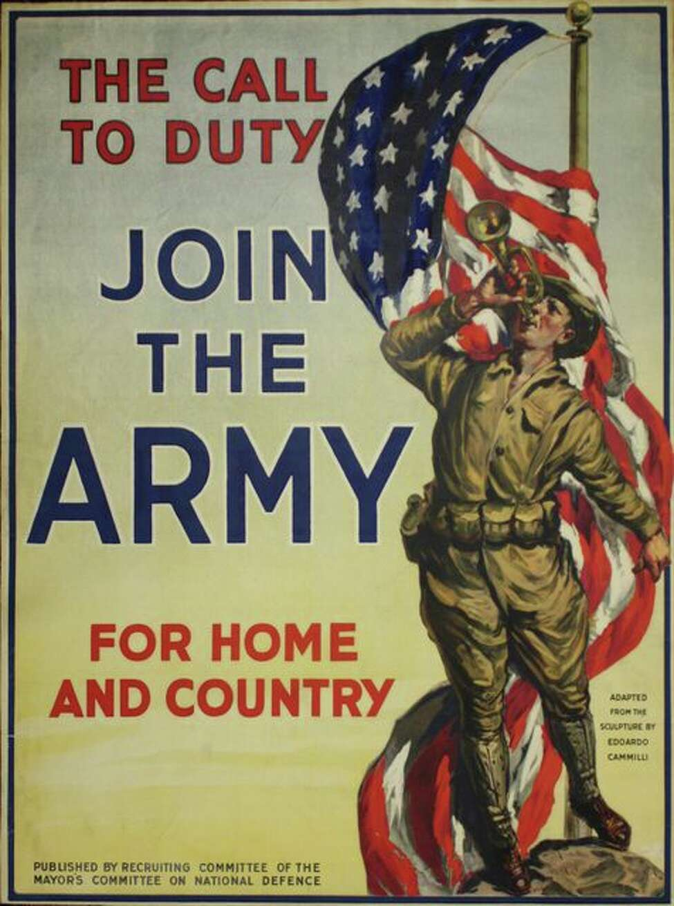 Poster was adapted from the sculpture by Edoardo Cammilli and issued by the Recruiting Committee of the Mayor's Committee on National Defense.