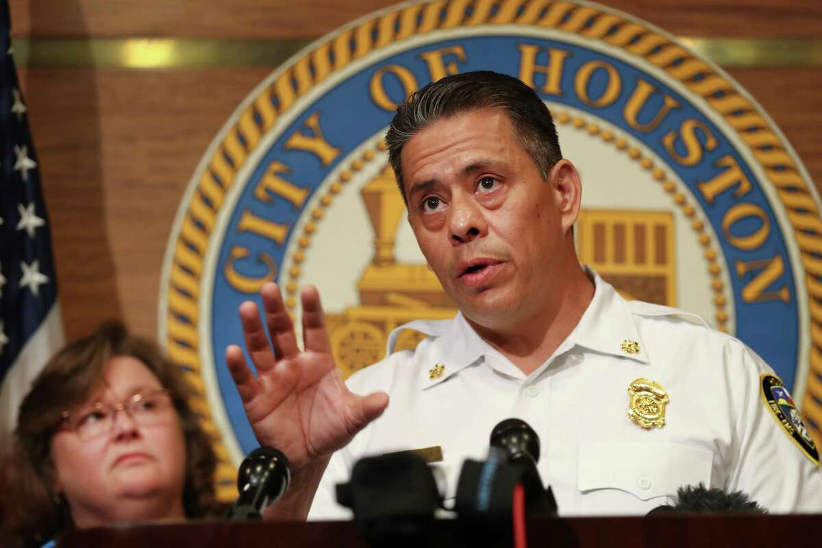 Houston Fire Department Chief Samuel Pena, pictured Aug. 1, 2018, told a city council committee Tuesday that no fire stations would be closed as a result of firefighter layoffs related to Proposition B. ( Steve Gonzales / Houston Chronicle )