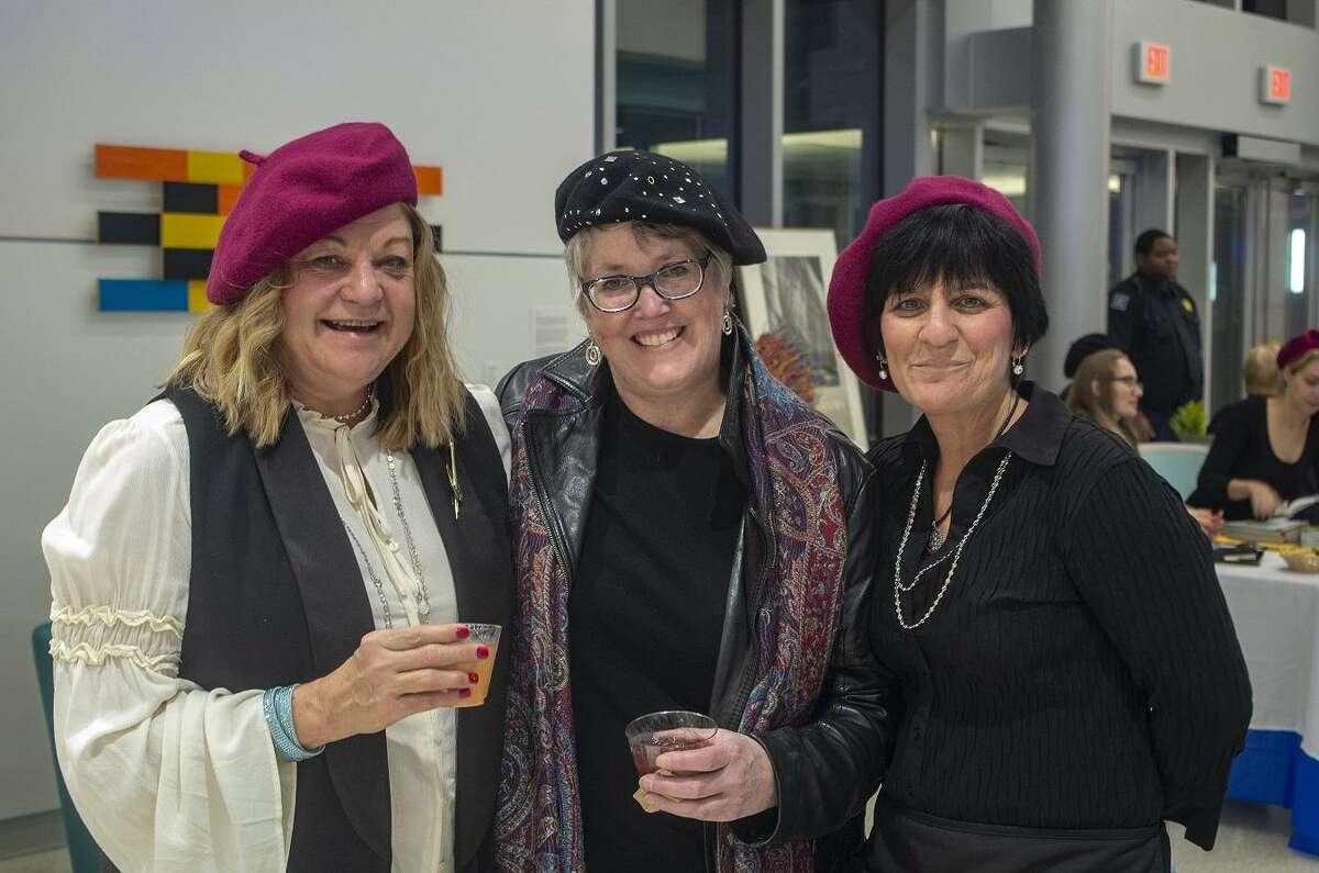Left to Right: Committee Chair Deborah Bachard, Housatonic Museum of Art Executive Director Robbin Zella and Dawn Barbierri. October 25, 2018