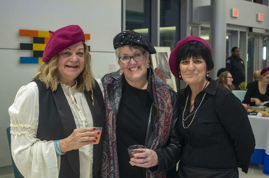 Left to Right: Committee Chair Deborah Bachard, Housatonic Museum of Art Executive Director Robbin Zella and Dawn Barbierri. October 25, 2018 Photo: Contributed