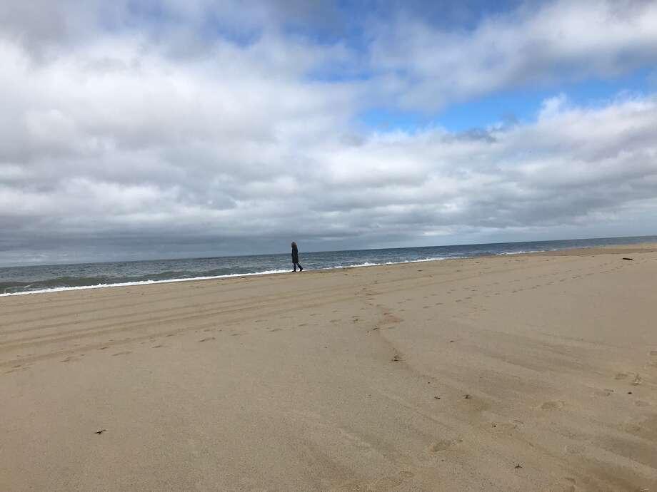 A nearly deserted Race Point beach along the Atlantic Ocean on Sunday, Oct. 28, 2018, after the storm. (Paul Grondahl / Times Union)