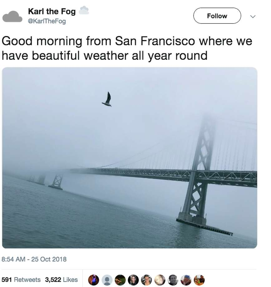 The twitter account @KarltheFog tracks San Francisco's fog and makes a lot of clever jokes about the weather. Photo: @KarltheFog
