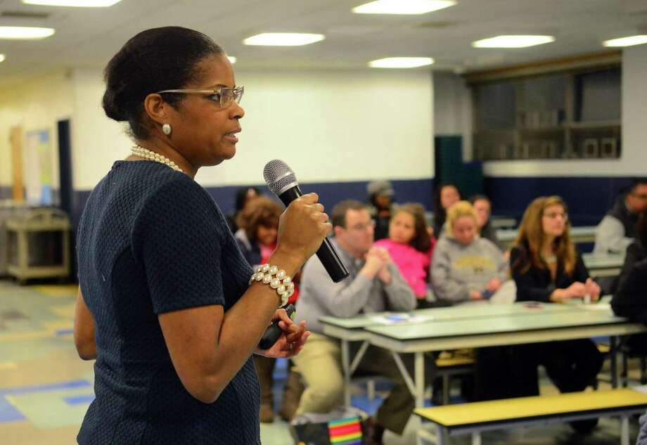 Dr. Aresta Johnson, Interim Superintendent of Schools, leads the first of four community forums to review the proposed city school budget at Blackham School in Bridgeport, Conn., on Thursday Feb. 16, 2017. Upcoming forums are slated for Saturday Feb. 18 from 1 to 2 p.m. at Jettie Tisdale School, Thursday Feb. 23 from 6:30 to 7:30 p.m. at Barnum School and Thursday Mar. 2 from 6:30 to 7:30 p.m. at Batalla School. Photo: Christian Abraham / Hearst Connecticut Media / Connecticut Post